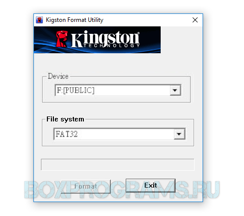 Kingston Format Utility на русском языке